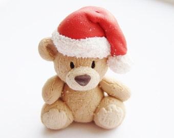 Christmas Teddy Bear - Handmade Ooak Christmas Teddy Bear Sculpture Figure - Made With Polymer Clay - Adorable Cute