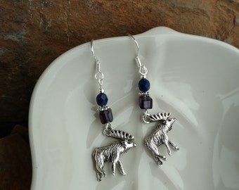 Purple Moose Earrings, Silver Moose Purple Sterling Silver Earrings, Silver Moose Sterling Earrings, Silver Moose Earrings