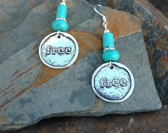 I Am Free Earrings, Turquoise Free Sterling Silver Dangle Earrings, Blue Free Silver Dangle Earrings, I Am Free Turquoise Earrings
