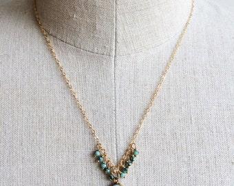 Seafoam Green Necklace, Gemstone Jewelry, Delicate Necklace