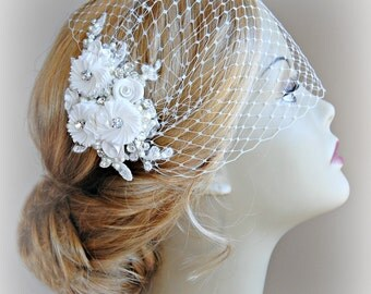 Birdcage Veil and Lace Fascinator Set, Ivory, White or Champagne, Bridal Fascinator and Bandeau Veil with Rhinestones, Pearls - ODETTE