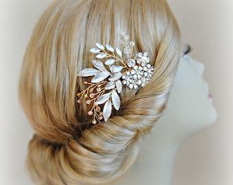Gold Wedding Hair Comb, Autumn Woodland, Champagne Swarovski Crystal, Pearl, Boho Flower Wedding Comb - AUTUMN BOUQUET