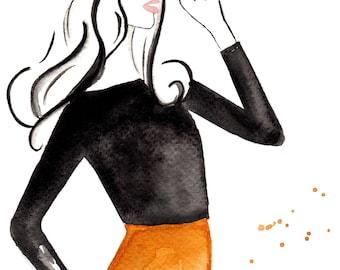 Watercolour fashion illustration Titled Retro Waves