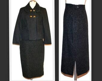 1980s Future Ozbek/Rifat Ozbek/Wool Blend Gray Flecked Wool Blend/Side Slit Vintage Straight Skirt