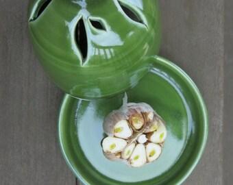 Green Ceramic Garlic Roaster, Garlic Baker, Garlic Cooker, Baking Garlic, Roaster Garlic, Oven Safe, Handmade Pottery by Licia Lucas Pfadt