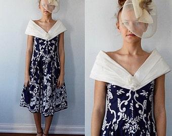 Vintage Dress, 1980s, 1980s Giliam's,  The International Collection, Prom, Formal, Evening Dress, Crinoline, Navy Blue Dress