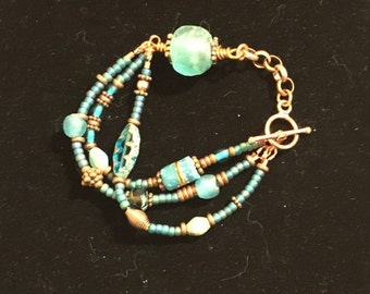 Teal & Copper Bracelet