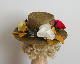 Vintage 1960s Hat - 60s Straw Hat - The Lorelai