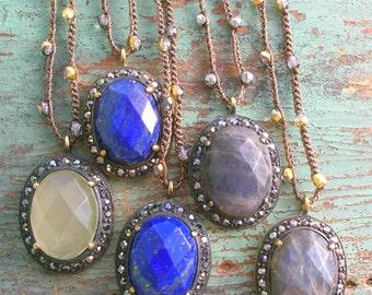 Boho crochet necklace - Boho Trinkets - bohemian layering jewelry, lapis pendant necklace, blue, gypsy jewelry, delicate crochet jewelry