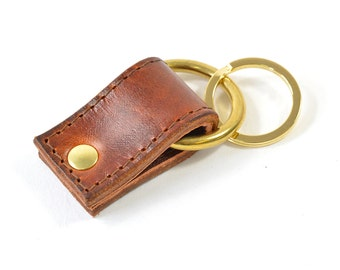 Handmade Tan Brown Hand Dyed Leather Keychain Key Fob Keyring.
