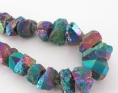 Mystic Blue Chunky Quartz Nugget, Rainbow Crystal Druzy Beads,Titanium Coated Point Briolettes (9) Thick Beads, Semi Precious Boho Luxe