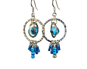 Upcycled  Resistor Earrings in Turquoise, Dangle Earrings, Geeky, Repurposed Jewelry