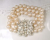 HOLD Vintage Multi Strand Pearl Bridal Bracelet with Rhinestone Clasp, Ivory Glass Pearl Marquise Crystal 1940s Old Hollywood Deco Glam