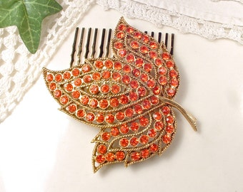 Burnt Orange Rhinestone Gold Bridal Hair Comb, Large Vintage Leaf Brooch to Hair Accessory, Autumn Fall Wedding Headpiece Rustic Country