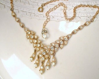 Vintage Art Deco BOGOFF Gold Rhinestone Necklace, Antique 1920 Bridal Pave Crystal gold Leaf Choker Statement Necklace Gatsby Rustic Downton