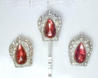 Antique Art Deco SHOE CLIPS & Hair Pin Set, Red Rhinestone Burgundy Wine Crystal Silver Bridal Jewelry, 1920s Great Gatsby Vintage Wedding