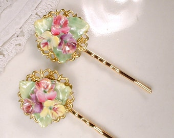 Pair Vintage Porcelain Flower Gold Bridal Hair Pins, English China OOAK Colorful Wedding Bobby Pins, Rustic Chic Country Garden Shabby Clips
