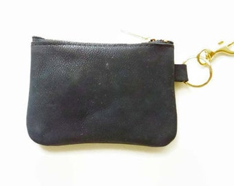 Leather coin purse, Leather pouch, Leather zipper change purse, Black leather pouch, Gift for her, Bridemaids gift