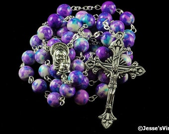Catholic Rosary Beads Rain Flower Natural Stone Silver Traditional Purple Blue White