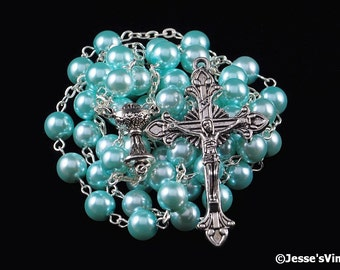 First Communion Rosary Catholic Traditional Turquoise Blue Glass Pearl Antique Silver Chalice Center Rosary Beads