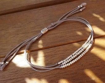 Simple Silk Cord Sterling Silver Bracelet - Sterling Silver Beaded Layer Bracelet