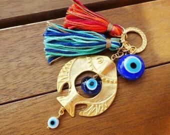 Gold Fish Charm Evil Eye Beaded Tassel Home Decor Walhanging - Door Knob Decor  -Evil Eye Beaded Wall Hanging