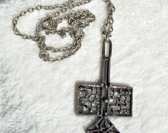 Brutalist Pewter Pendant Necklace Modernist Abstract Guy Vidal Robert Larin Era Vintage 1960's