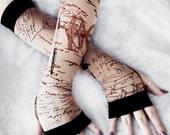 Codex Arm Warmers | Tan Black Brown Script Schematic Print | Steampunk Victorian Goth Unisex Gloves Noir Yoga Romantic Handwriting Bohemian