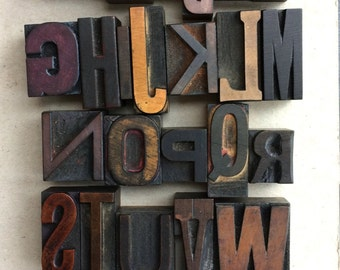 Vintage Letterpress Wood Type Alphabet