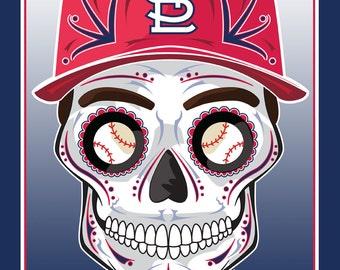 St. Louis Cardinals Sugar Skull Print 11x14