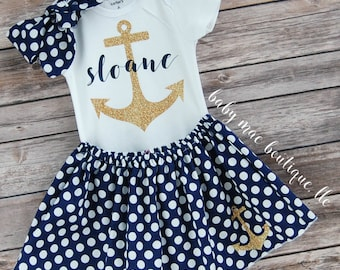 Anchor Outfit; Baby Girl Anchor Outfit; Nautical Baby Outfit; Gold and Navy Anchor
