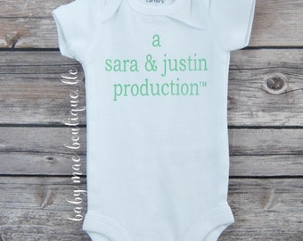 Personalized Production bodysuit; Coming Home bodysuit, Baby Girl Romper, Baby Boy Romper, Custom Baby