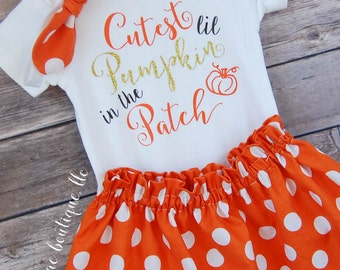 Baby Girl Thanksgiving Outfit; Baby Pumpkin Outift; Fall Halloween Outfit; Cutest Pumpkin Outfit