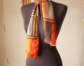 Vintage 70's Scarf, Oblong, by VERA, Brown, Orange, Off White, Taupe with Abstract Colorblock Geometric Design.