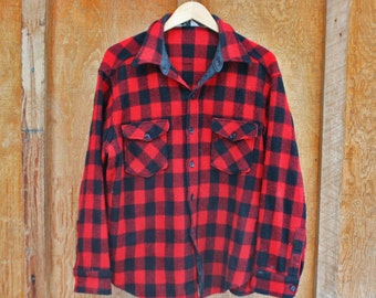 Vintage Woolrich Buffalo Plaid Wool Flannel - Large