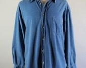 Wrangler Denim Shirt / Faded Blue Denim Shirt / Artist Work Shirt / Southwestern / Vintage / Mens / XL / GOGOVINTAGE