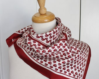 Vintage Women's Red Burgundy Hearts Print Square Silk Summer Fall Fashion Scarf
