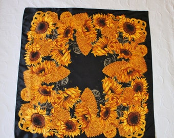 Vintage 80s Women's Sunflowers Print Bright Bold Design Large Square Head Rain Shawl Scarf