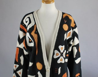Vintage 80s Women's Black Tribal Geo Design Cotton Fall Winter Cardigan Sweater