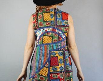 Vintage 70s Women's Rainbow Multicolored Boho Bohemian Floral Provencal Print Cotton Hippie Festival Fashion Quilt Vest