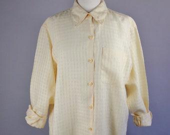 90s Women's Bright Yellow Basketweave Irish Linen Long Sleeved Button Down Artist Work Shirt Blouse, Vintage, Size Large, FREE SHIPPING