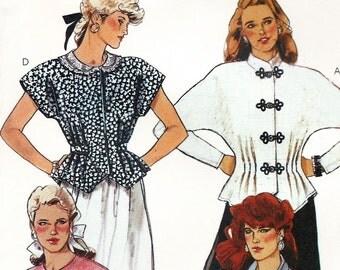"""80s blouse pattern - McCall's 3985 - vintage dolman sleeve blouse pattern -  size 14 / 16 - medium - uncut ff pattern - 36"""" / 38"""" bust"""