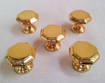 Vintage Solid Brass Metal Drawer Knobs, Pulls, Set of 5 Hexagonal Shaped Brass Knobs, 1-1/8 Inch Diameter Drawer Knob Handles, 1970s Vintage