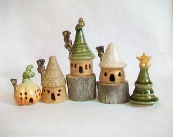 Fairy Houses - Garden Houses - You Choose a Set of 3 - 4 - or 5 - Actual Houses/Tree - Ready to Ship - Handmade on Potters Wheel