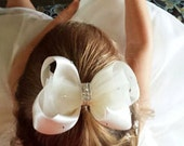 Ivory or White Tulle, Swarovski Rhinestone & Satin Custom Hair Bow Clip for Flower Girls