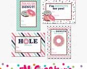 Printable Donut Valentines Day Card - School Valentines Day Card - Valentines Day Printables -  Digital Doughnut Valentines Card Pink Brown
