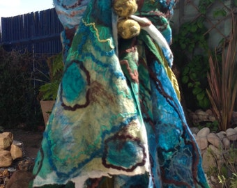 Turquoise blue brown and green Nuno felted wool &  silk scarf OOAK Quirky fibre art to wear lagenlook