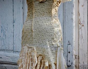 Dress, goth dress, corpse bride, halloween,cream dress,alternative wedding, textured,tattered dress, lace,ruffle dress ,victorian,cream