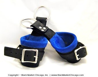 BDSM Suspension Cuffs Restraints Leather Black Lined with BLUE Suede