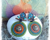 SUN MANDALA Earrings Ancient Japanese style Painted jewelry Sun Face earrings colorful Disk earrings Festival African long earrings GPyoga